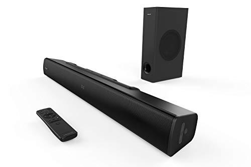 Creative Stage V2 2.1 Soundbar mit Subwoofer, Clear Dialog und Surround von Sound Blaster, Bluetooth 5.0, TV ARC, Optical sowie USB Audio, Wandmontage möglich, Bass- und Höheneinstellung, für TV