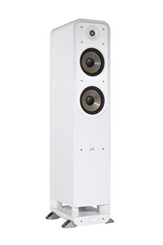 Polk Audio Signature S55E Standlautsprecher, HiFi Lautsprecher für Musik und Heimkino Sound, passiver Full Range Lautsprecher, 20 - 200 Watt, 8 Ohm, High Res, 40Hz - 40kHz (Stück), Weiß