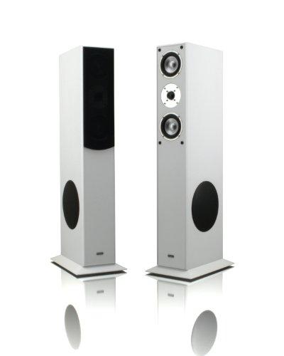 mohr 1 Paar Standlautsprecher SL15 Weiss Lautsprecherboxen, HiFi Klang zum günstigen Preis, Elegante HiFi Standboxen aus Holz, als Stereolautsprecher oder Heimkinolautsprecher geeignet