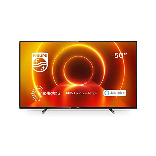 Philips TV Ambilight 50PUS7805/12 Fernseher 126 cm (50 Zoll) LED TV (4K UHD, P5 Engine, Dolby Vision, Dolby Atmos, HDR 10+, Alexa Sprachsteuerung, Saphi Smart TV, HDMI) Grau/Silber [Modelljahr 2020]