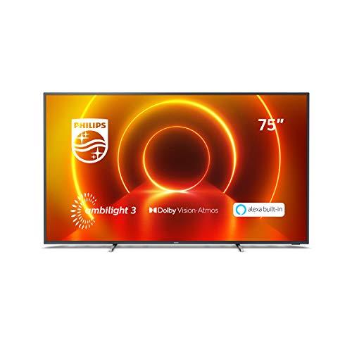 Philips TV 75PUS7805/12 75 Zoll Fernseher mit Ambilight und Sprachsteuerung (4K UHD LED TV, HDR10+, Dolby Vision, Dolby Atmos, Saphi Smart TV) - Rahmen Grau, Standfuß Silber [Modelljahr 2020]