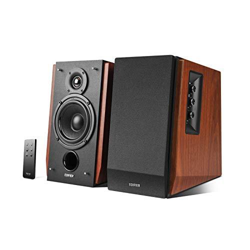 Edifier Studio R1700BT Bluetooth-Lautsprechersystem mit Infrarot-Fernbedienung 66Watt RMS, Regallautsprecher ideal für TV, PC, Tablet, Smartphone, Holzfarbe