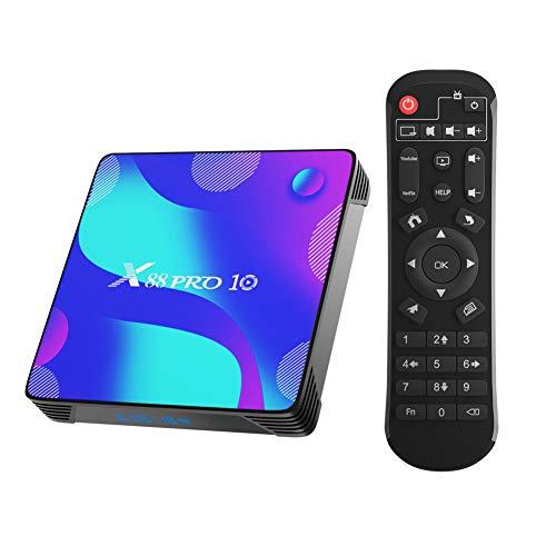 Android TV Box, X10 Android 10.0 TV Box 4 GB RAM/32 GB ROM RK3318 Quad Core Unterstützung 2.4 GHz/5.0 GHz WiFi Bluetooth 4.0, 4K HDMI Smart TV Box