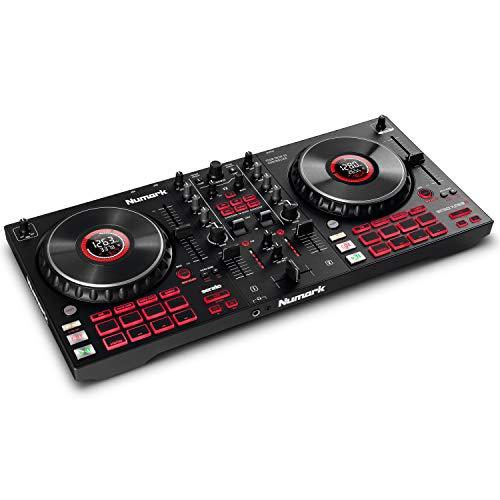 Numark Mixtrack Platinum FX - DJ-Controller für Serato DJ mit 4-Deck Kontrolle, DJ-Mixer, integriertem Audio Interface, Jogwheel-Displays und Effektpaddeln
