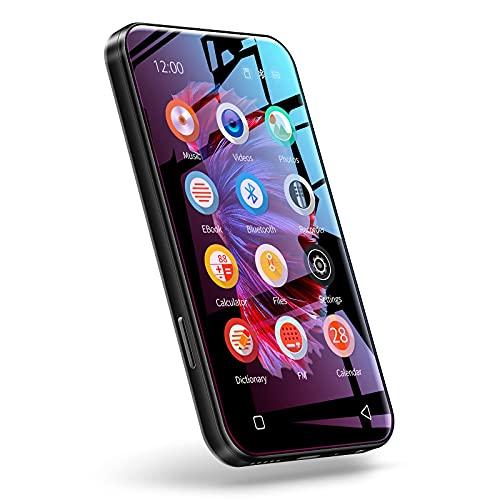 TIMMKOO MP3 Player mit Bluetooth, 4,0' Full Touchscreen MP4 MP3 Player mit Lautsprecher, 8GB tragbarer HiFi-Sound MP3 Player mit UKW-Radio, Diktiergerät, E-Book Schwarz