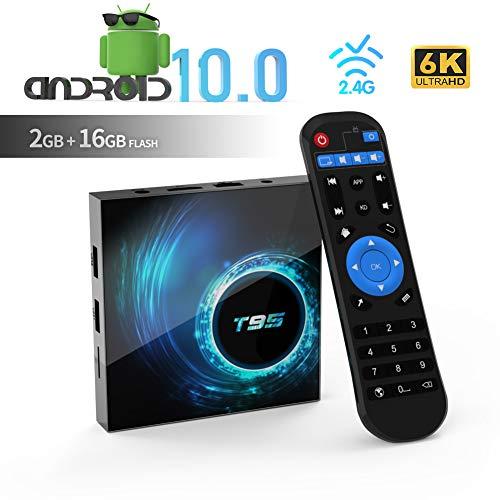 TUREWELL T95 Android 10.0 TV Box, Allwinner H616 Quadcore 2 GB RAM 16 GB ROM Mali-G31 MP2-GPU-Unterstützung 6K 3D 1080P 2.4 GHz WiFi 10 /100M Ethernet DLNA HDMI 2.0 H.265 Smart TV Box [2020 Neueste]