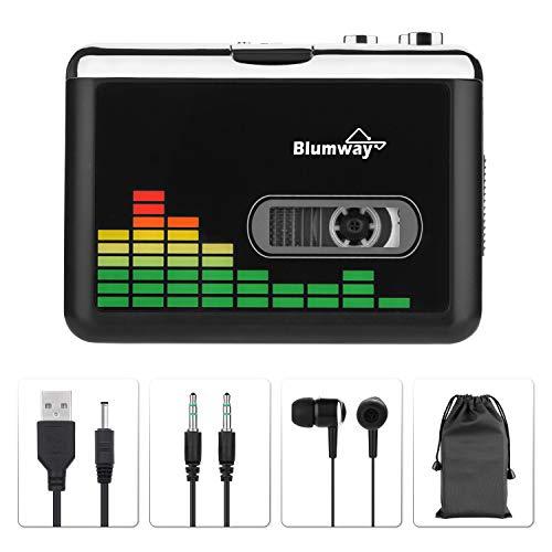 BlumWay USB Kassette zu MP3 Konverter, tragbarer Kassettenspieler Digital Kassettenkonverter Audio Musik Player Kassettekonverter mit Kopfhörern und Tragetasche (PC000249)