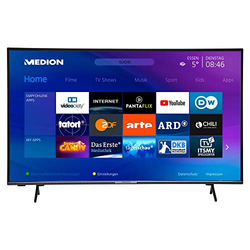 MEDION X14380 108 cm (43 Zoll) UHD Fernseher (Smart-TV, 4K Ultra HD, HDR 10, Micro Dimming, Netflix, Prime Video, WLAN, PVR, Bluetooth)