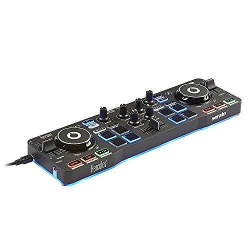 Hercules DJControl Starlight (2-Deck DJ Controller, 8 Pads, integr. Soundkarte, Beleuchtung, Serato DJ Lite, PC / Mac)