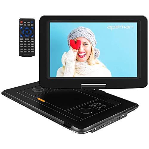 APEMAN 15,5'' mit Tragbarer DVD Player Auto Eingebautem 6000mAh Portable CD Player 6 Stunden Akku HD Display Unterstützt SD/USB/AV Out/IN Spiele Joystick(schwarz)