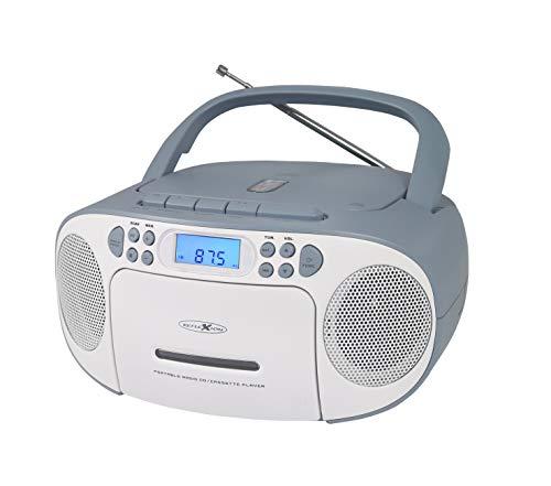 REFLEXION CD-Player mit Kassette und Radio für Netz- und Batteriebetrieb (PLL UKW-Radio, LCD-Display, AUX-Eingang, Kopfhörer-Anschluss), weiß/blau, RCR2260