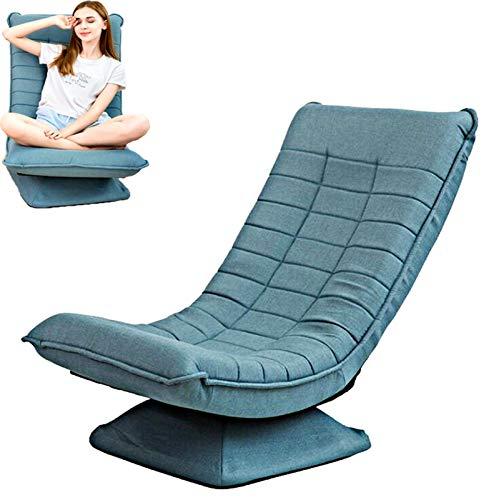 Teenager360 °drehbarer Boden Spielstuhl,klappbarer Relaxsessel,3winkelverstellbarer Rückenlehne 95°-140°Polsterstuhl Hochdichter Schwamm Abnehmbarer Leinenstuhlbezug bis180kg belastbar Lazy Sofa/blau