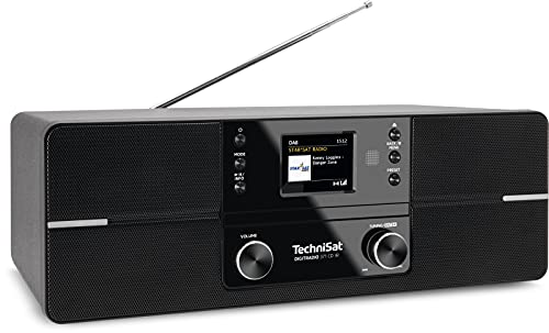 TechniSat DIGITRADIO 371 CD IR - Stereo Internetradio (DAB+, UKW, CD-Player, WLAN, Bluetooth-Audiostreaming, Farbdisplay, USB, AUX, Kopfhöreranschluss, Wecker, 10 Watt, Fernbedienung) schwarz