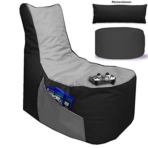 Sitzsack 3er Set Big Gamer Sessel mit EPS Sytropor Füllung - Rückenkissen - Hocker Sitzsäcke Sessel Kissen Sofa Sitzkissen Bodenkissen (Big Gamer Sitzsack 3er Set 2-farbig, Schwarz - Hellgrau)