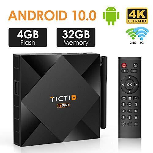TICTID Android TV Box Android 10.0【4G+32G】 T6 Pro Smart tv Box Allwinner H616 64-bit Quad core/ Ethernet 10/100M/Standard RJ-45 unterstützt WiFi 2.4G / 5G/1080p/4K