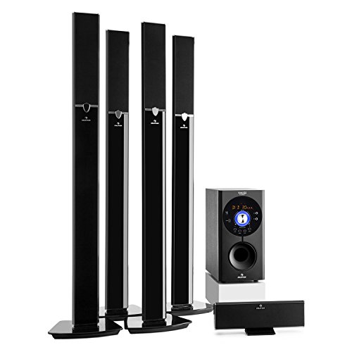 auna Areal 653 Surround Sound System 5.1-Kanal Heimkinosystem Lautsprechersystem (145 Watt RMS, 16,5 cm (6,5')-Sidefiring-Subwoofer, Bassreflex, Bluetooth, USB-Port, SD-Slot, AUX) schwarz