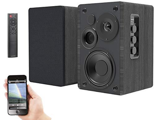 auvisio Aktivboxen: Aktives Stereo-Regallautsprecher-Set, Holz-Gehäuse, Bluetooth 5, 120 W (Aktive Lautsprecher)