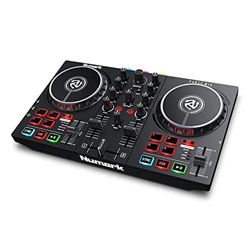 Numark Party Mix II – Einsteiger DJ Controller Set mit eingebauten DJ-Lichtern & DJ-Mixer für Serato DJ Lite und Algoriddim djay Pro AI