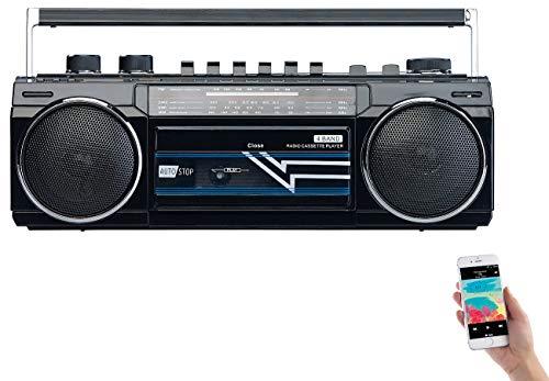 auvisio Retro Ghettoblaster: Retro-Boombox mit Kassetten-Player, Radio, USB, SD & Bluetooth, 8 Watt (Kassettenspieler Retro)