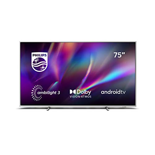 Philips Ambilight 75PUS8505/12 75-Zoll Smart TV (4K UHD, P5 Perfect Picture Engine, HDR 10+, Dolby Vision, Dolby Atmos, Sprachassistent, Android TV, Triple Tuner) Hellsilber [Modelljahr 2020]