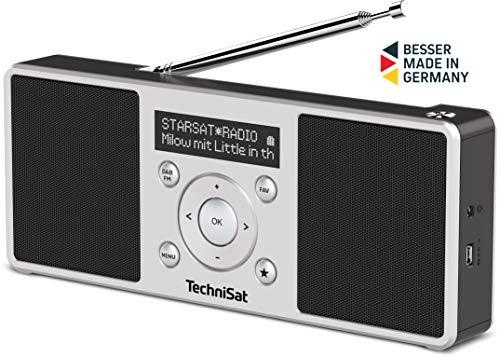 TechniSat Digitradio 1 S - tragbares Stereo DAB Radio mit Akku (DAB+, UKW, FM, Lautsprecher, Kopfhörer-Anschluss, Favoritenspeicher, OLED-Display, 2 W RMS) silber/schwarz
