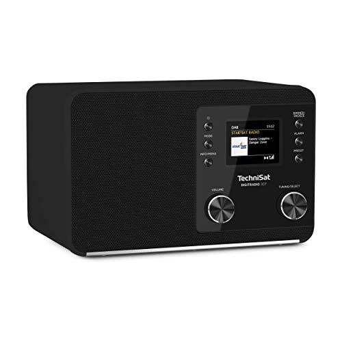 TechniSat DIGITRADIO 307 - DAB Radio (DAB+, UKW, Aux-Eingang, Kopfhöreranschluss, Favoritenspeicher, Wecker, Sleeptimer, Uhr- und Datumsanzeige, 5W RMS Monolautsprecher) schwarz