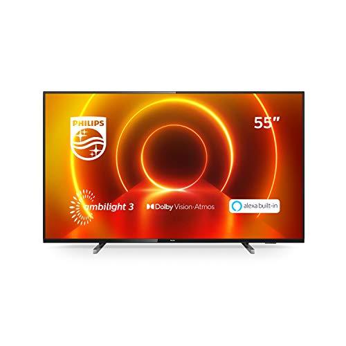 Philips 55PUS7805/12 55-Zoll Fernseher mit Ambilight und Sprachsteuerung (4K UHD LED TV, HDR10+, Dolby Vision, Dolby Atmos, Saphi Smart TV) - Rahmen Grau, Standfuß Silber [Modelljahr 2020]