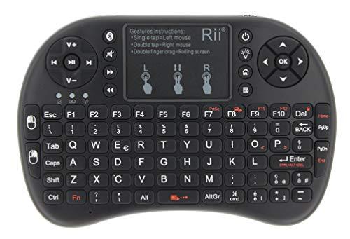 Rii Mini i8+ Bluetooth + Wireless (italienisches Layout) Mini-Tastatur mit Touchpad, USB Wireless + Bluetooth, kompatibel mit Smart TV, TV Box, Tablet, Smartphone, Konsole, PC, Fire TV, Raspberry