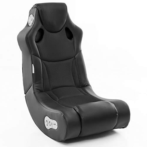 Wohnling Soundchair in Schwarz mit Bluetooth | Musiksessel mit eingebauten Lautsprechern | Multimediasessel für Gamer | Musiksessel 2.1 Soundsystem - Subwoofer | Music Gaming Rocker