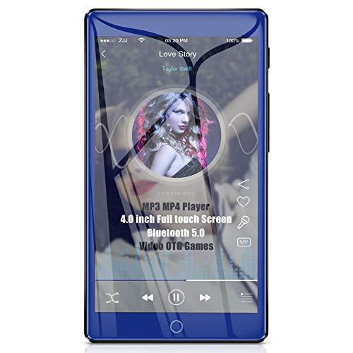 Timoom MP4 Player Bluetooth 5.0 Hochauflösender Voll-Touchscreen, 4-Zoll-MP3-Player 16 GB Musik Audio Verlustfreie HiFi-Anlage mit FM-Radio Video Voice Recorder Erweiterbar auf bis zu 128 GB