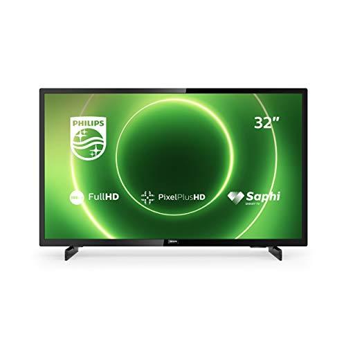 Philips 32PFS6805/12 32-Zoll Fernseher (Full HD LED TV, Pixel Plus HD, HDR 10, Saphi Smart TV, Full-Range-Lautsprecher, 3 x HDMI, 2 x USB, Ideal für Gaming) - Schwarz Glänzend [Modelljahr 2020]