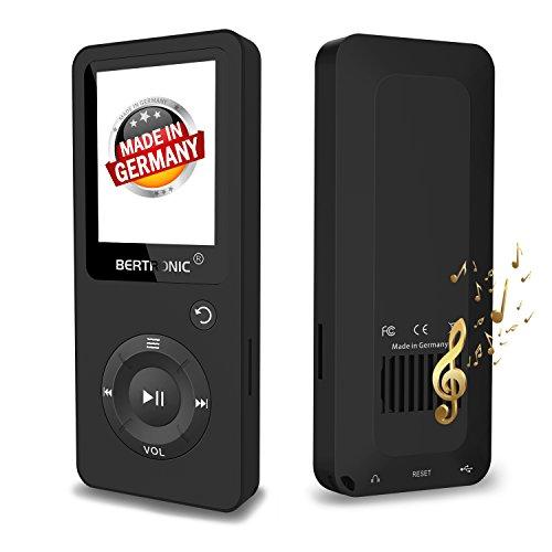 BERTRONIC Made in Germany BC02 Royal MP3-Player 8 GB - Schwarz Bis 100 Stunden Wiedergabe Radio | Portabler Player mit Lautsprecher | Audio-Player für Sport mit Micro SD-Karte & Silikonhülle