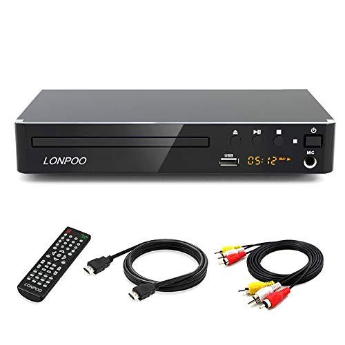 LONPOO Kompakter DVD-Player für TV, HD DVD Player mit HDMI / Cinch / USB /MIC Ports,1080p Upscaling, MultiROM, Alle Regionen frei (HDMI & AV Kabel enthaltenl)