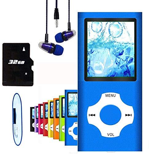 Hotechs MP3-Player/MP4-Player, MP3-Player mit 32 GB Speicherkarte, schlankes Design, digitales LCD-Display, 4,6 cm (1,8 Zoll) Display, FM-Radio (Blau mit Weiß)