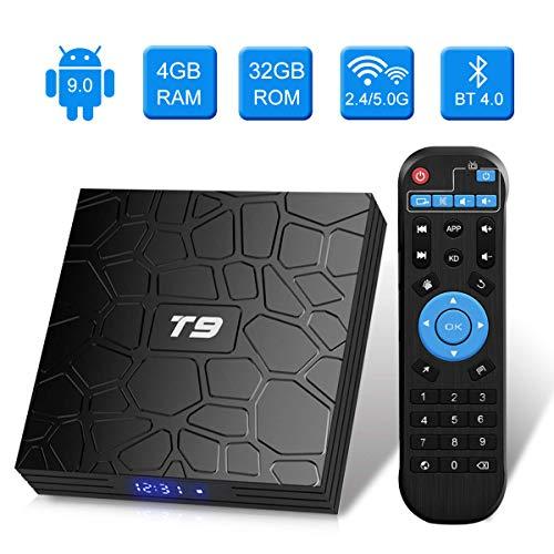 T9 Android TV-Box, Android 9.0, 4 GB RAM / 32 GB ROM, RK3318, Quad-Core, unterstützt 2,4 / 5 GHz WLAN, Bluetooth 4.0, 4K, 3D, HDMI, DLNA, Smart-TV-Box