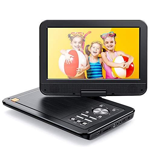 APEMAN Tragbar DVD Player Auto 10,5''mit 5 Stunden Akku, Drehbarer Display Portable CD Player Unterstützt SD/USB/AV Out/IN Spiele Joystick (schwarz)