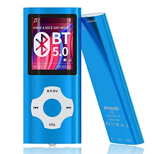 MYMAHDI Bluetooth 5.0 MP3/MP4-Player mit 32 GB Speicherkarte, 1,8 Zoll LCD-Bildschirm, unterstützt bis zu 128 GB, Schrittzähler/Video/Sprachaufnahme/FM-Radio/E-Book-Reader/Fotobetrachter, Dunkelblau