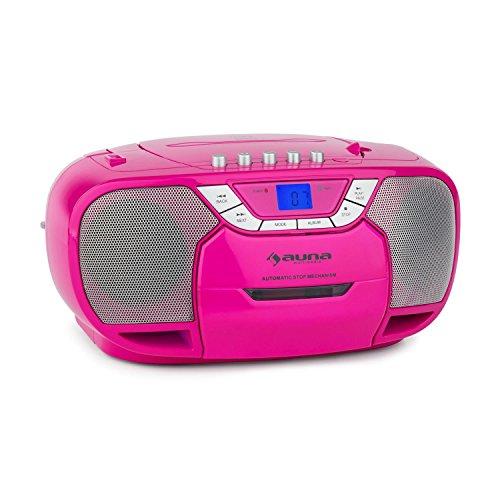 auna BeeGirl - CD-Radio, Boombox, Kassettenplayer, programmierbarer MP3- / CD-Player, Kassettendeck, UKW-Radio, MP3-fähiger USB-Port, LCD-Display, tragbar, pink