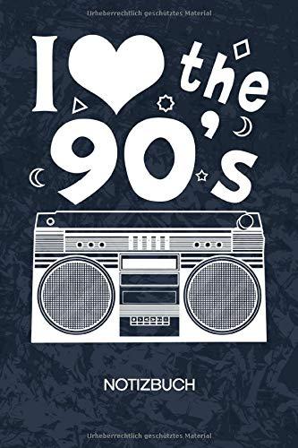 I Love The 90s: Retro Fan Notizbuch A5 Kariert - 120 Seiten KARO - Retro Liebhaber Geschenk - Geschenkidee Vintage Liebhaber Notizheft - Kassettenspieler Notizblock 90er Jahre Party