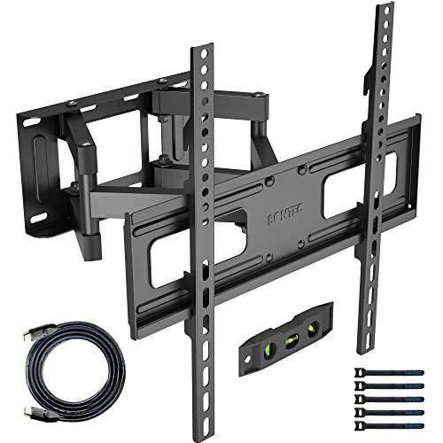 BONTEC TV Wandhalterung Schwenkbare Neigbare TV Halterung Vollbewegung für 32-60 Zoll Flach & Curved LCD LED Fernseher bis zu 45kg, Max VESA 400x400mm