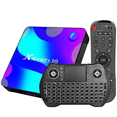 Android 11.0 tv Box, 2G RAM+ 16G ROM Android TV Box RK 3318 mit Dual 2.4G/5.8G WiFi, BT 5.0 Quad-Core 64 Bits UHD H.265 Ethernet LAN 3D 4K TV Box mit hintergrundbeleuchtete Tastatur Set Top TV Box